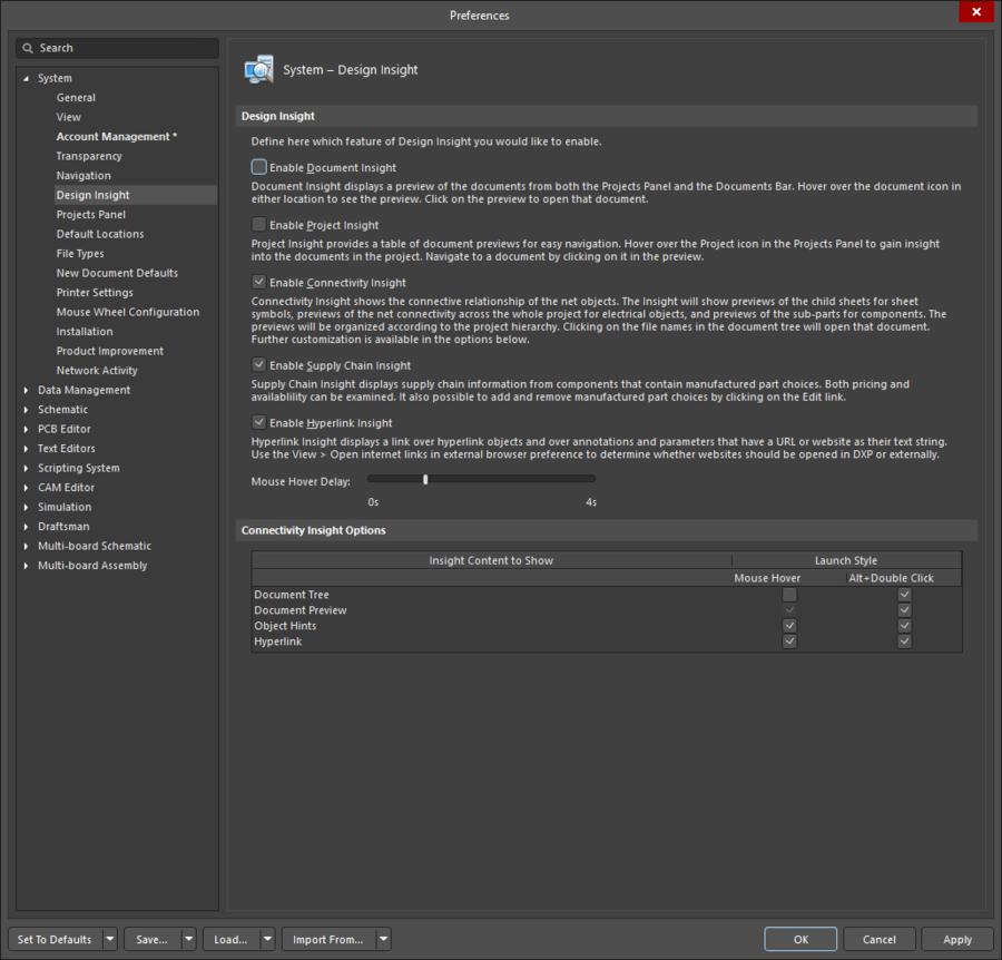 Страница System - Design Insight диалогового окна Preferences.