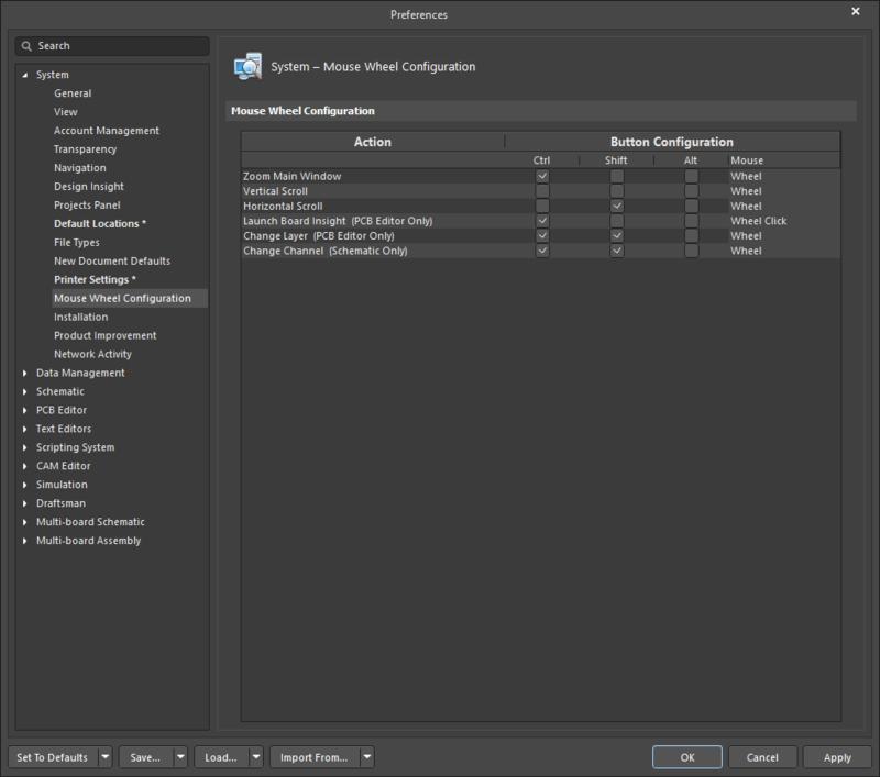 Страница System - Mouse Wheel Configuration диалогового окна Preferences