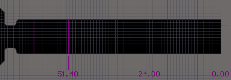 The board in 2D Layout Modeshowing the construction lines to help accurately place the diagonal Bending Lines.