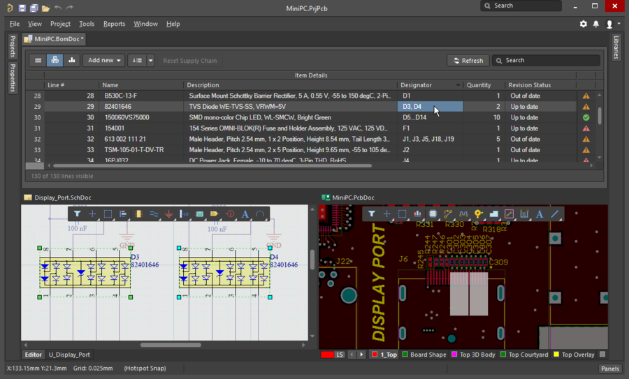 Image showing how the Cross Select feature works between the BomDoc, schematic and PCB
