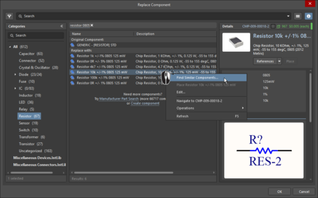 The Replace Component dialog is used to replace an existing component