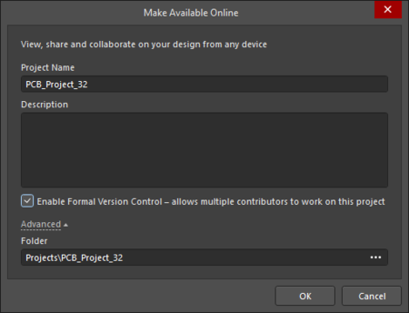 The Make Available Online dialog