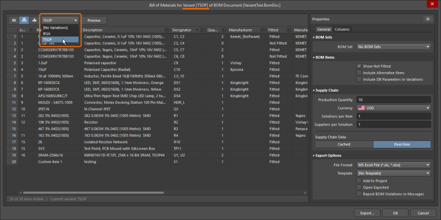 Base the BOM report on a specific variant, the dialog banner shows which variant is currently being used.