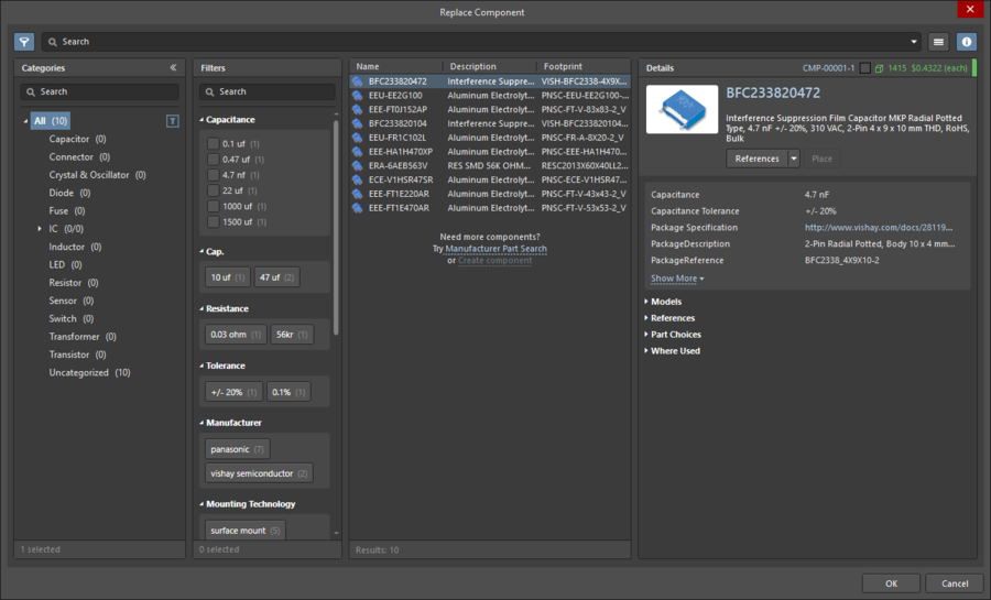The Replace Component dialog