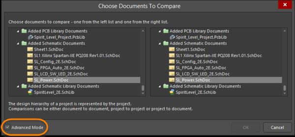 Выбор документов для физического сравнения в диалоговом окне Choose Documents To Compare в режиме Advanced Mode.
