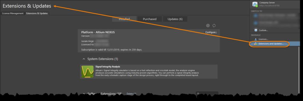 Доступ к интерфейсу Extensions & Updates для управления возможностями системы.