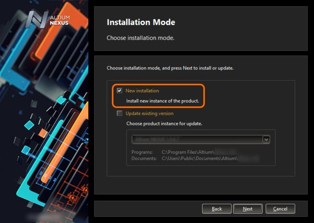 Чтобы установить новую версию отдельно, выберите параметр New installation на странице выбора режима установки.