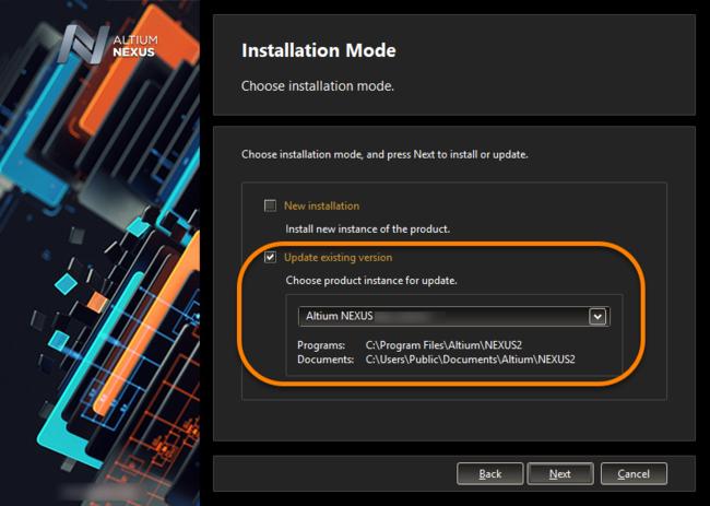 Выберите обновление установленной версии Altium NEXUS в процессе установки более новой версии.