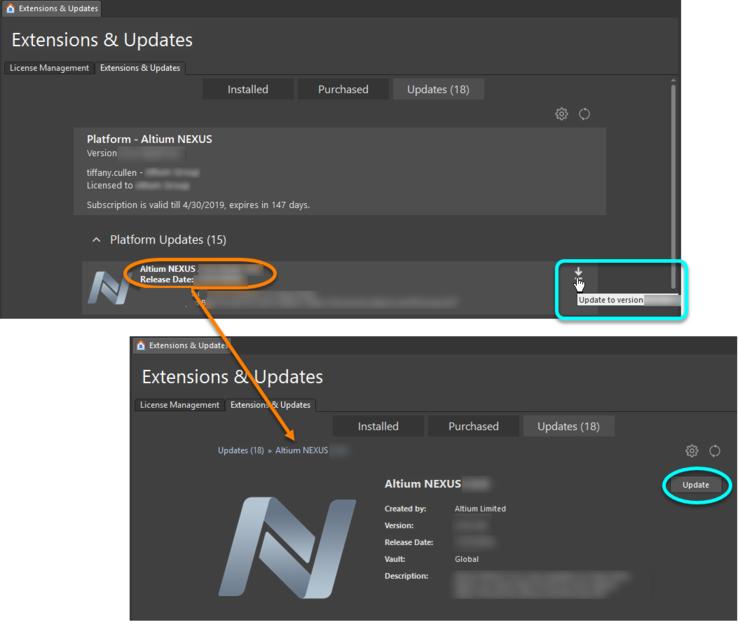 Обновление до более новой версии непосредственно в Altium NEXUS.