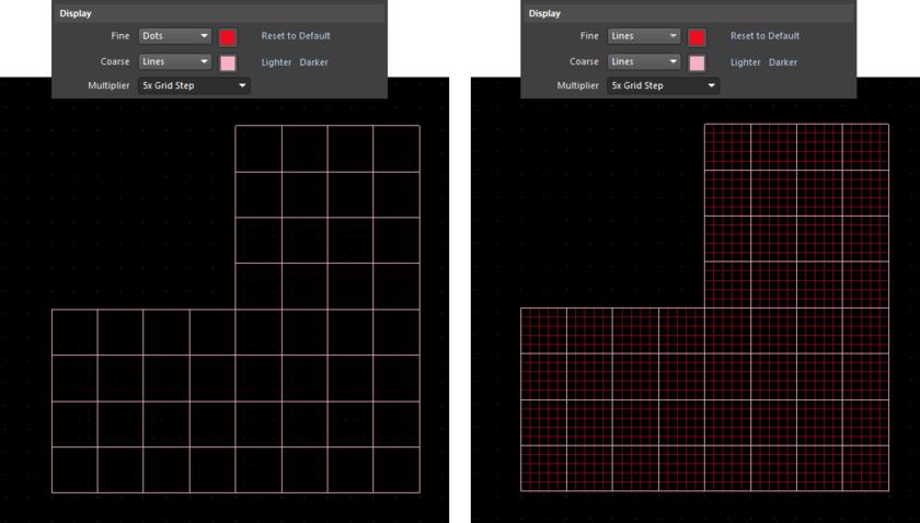 Пример декартовой сетки с отображением точной и крупной сетки в рабочей области. Слева: точная сетка отображена точками, крупная сетка – линиями. Справа: точная и крупная сетка отображены линиями.
