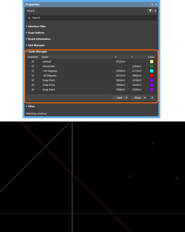 Раздел Guide Manager панели Properties – центр управления визуального размещения направляющих, используемых в рабочей области. Здесь показаны различные примеры направляющих привязки, доступных для помощи в размещении объектов.