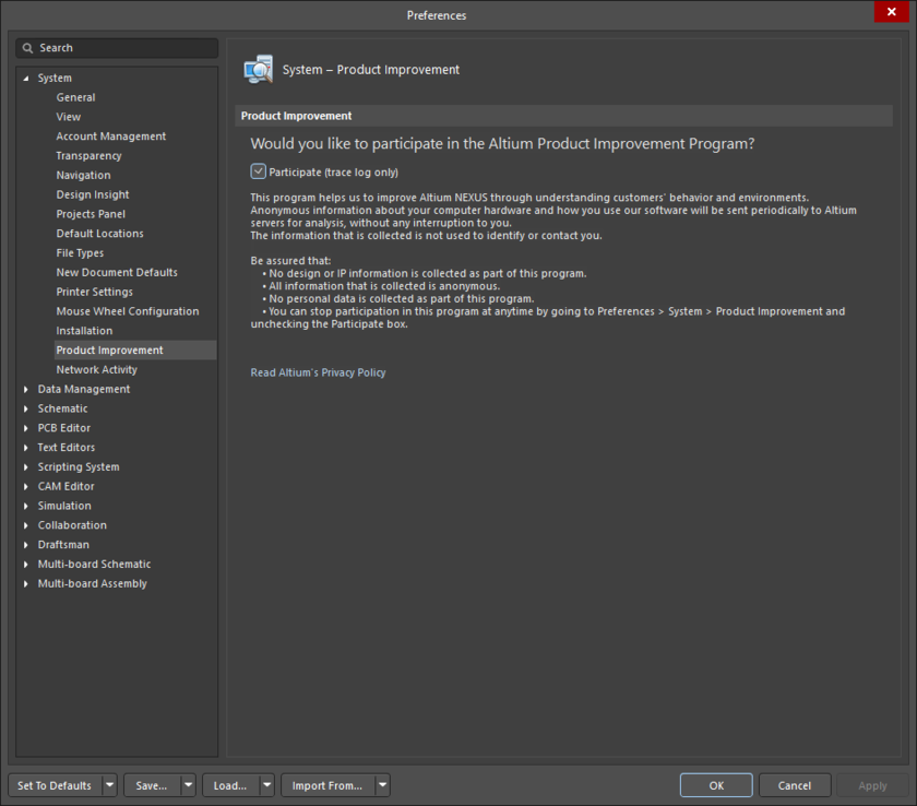The System - Product Improvement page of the Preferences dialog