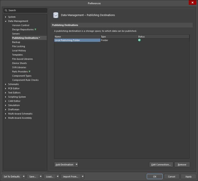 The Data Management - Publishing Destinations page of the Preferences dialog