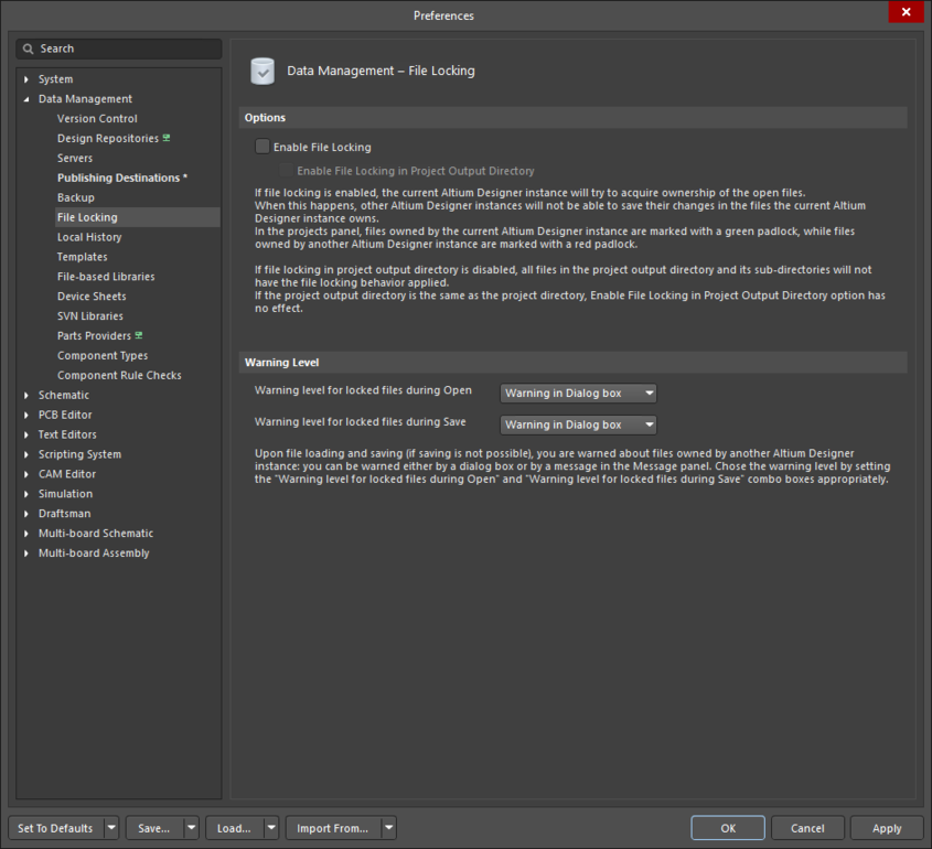 The Data Management – File Locking page of the Preferences dialog
