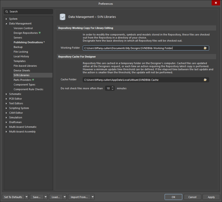The Data Management - SVN Libraries page of the Preferences dialog