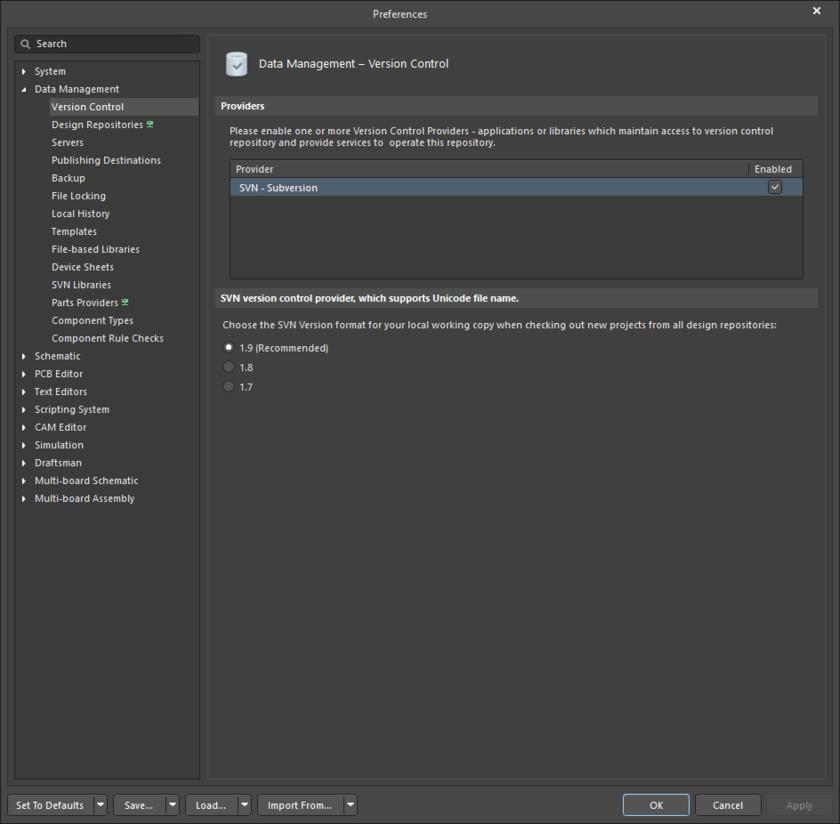 The Data Management - Version Control page of the Preferences dialog
