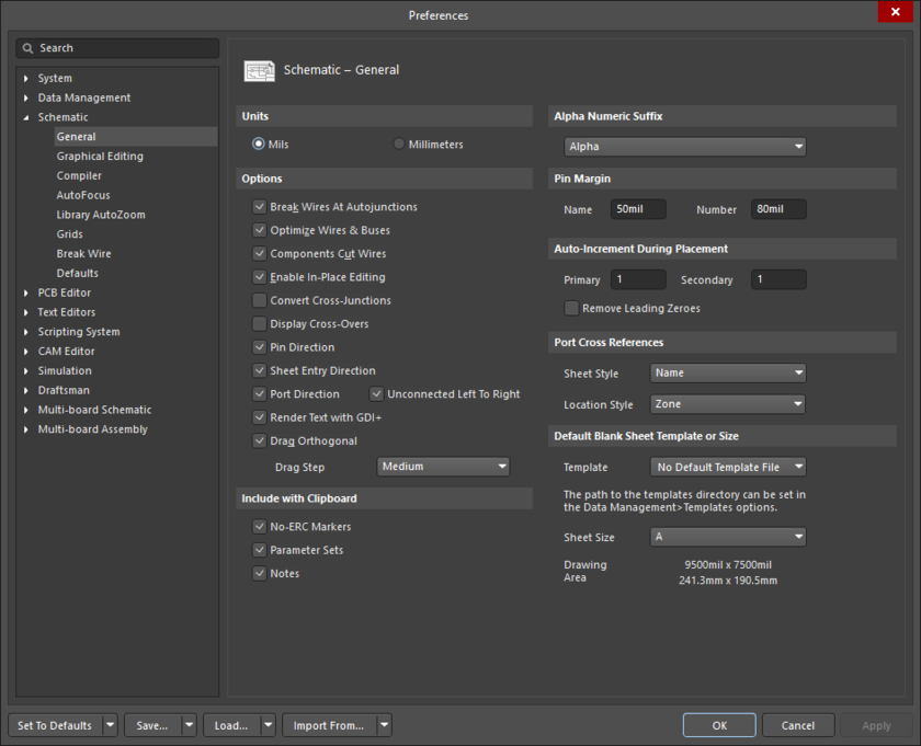 The Schematic - General page of the Preferences dialog