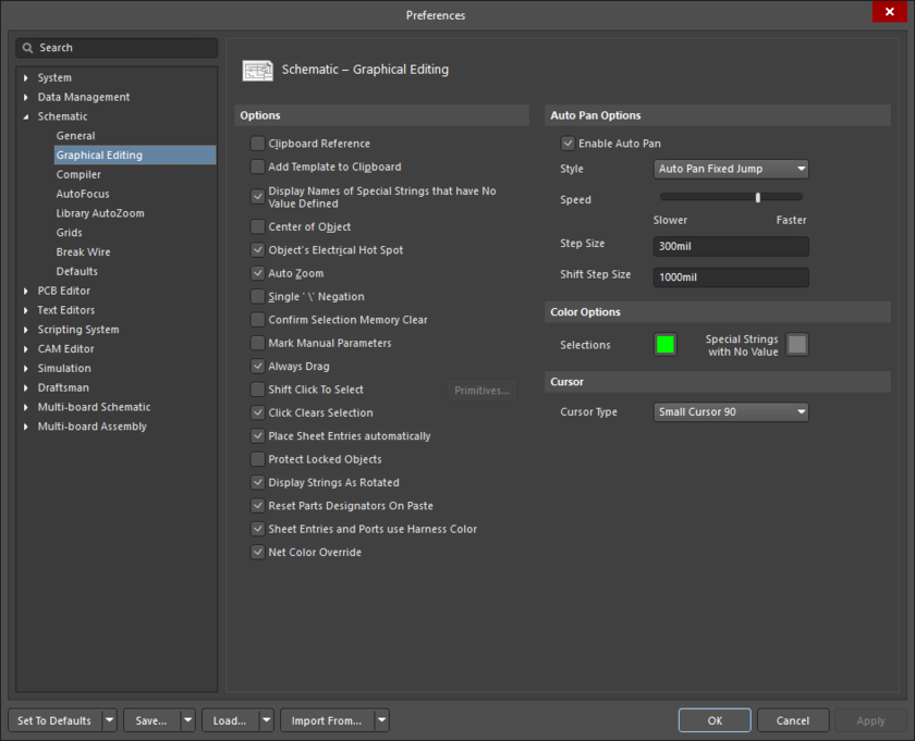 The Schematic - Graphical Editing page of the Preferences dialog.