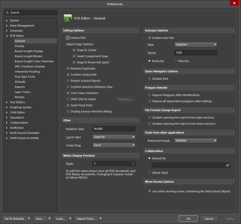 The PCB Editor - General page of the Preferences dialog