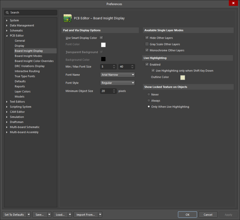 The PCB Editor - Board Insight Display page of the Preferences dialog