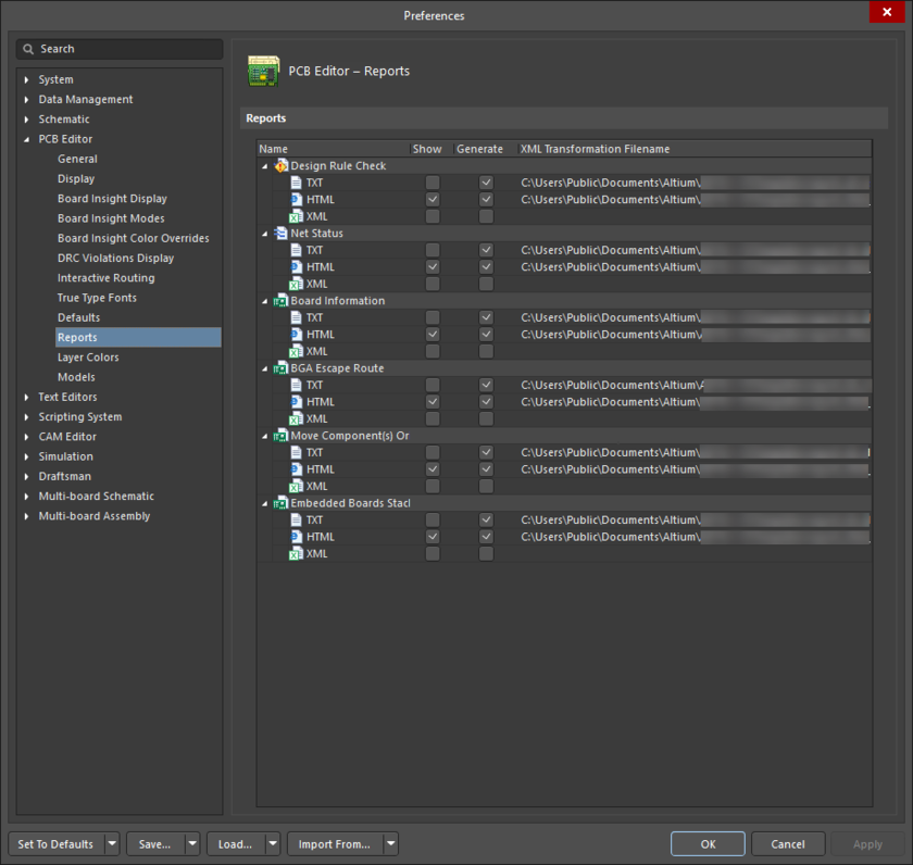 The PCB Editor - Reports page of the Preferences dialog