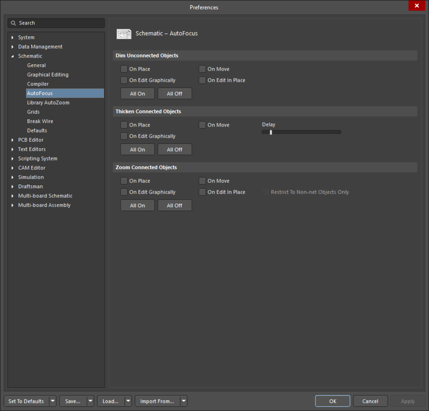 The Schematic - AutoFocus page of the Preferences dialog