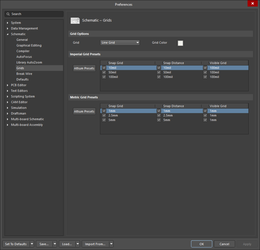 The Schematic - Grids page of the Preferences dialog