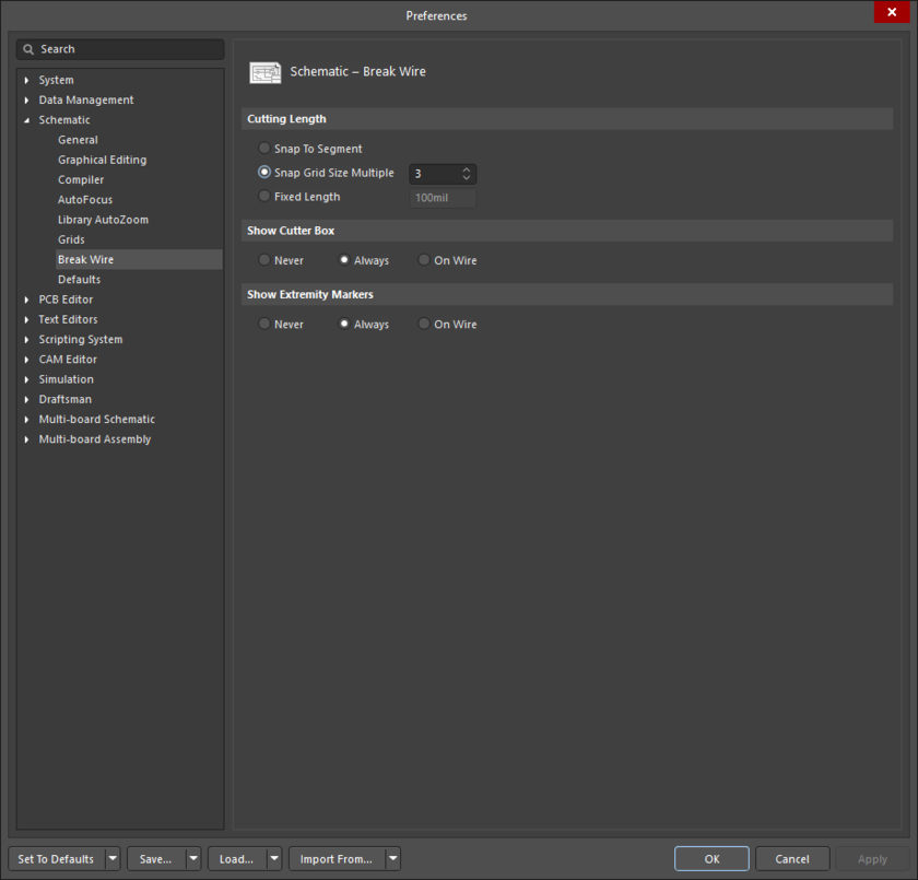 The Schematic - Break Wire page of the Preferences dialog