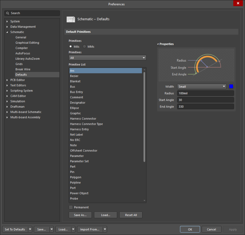 The Schematic - Defaults page of the Preferences dialog showing the Arc primitive as an example.