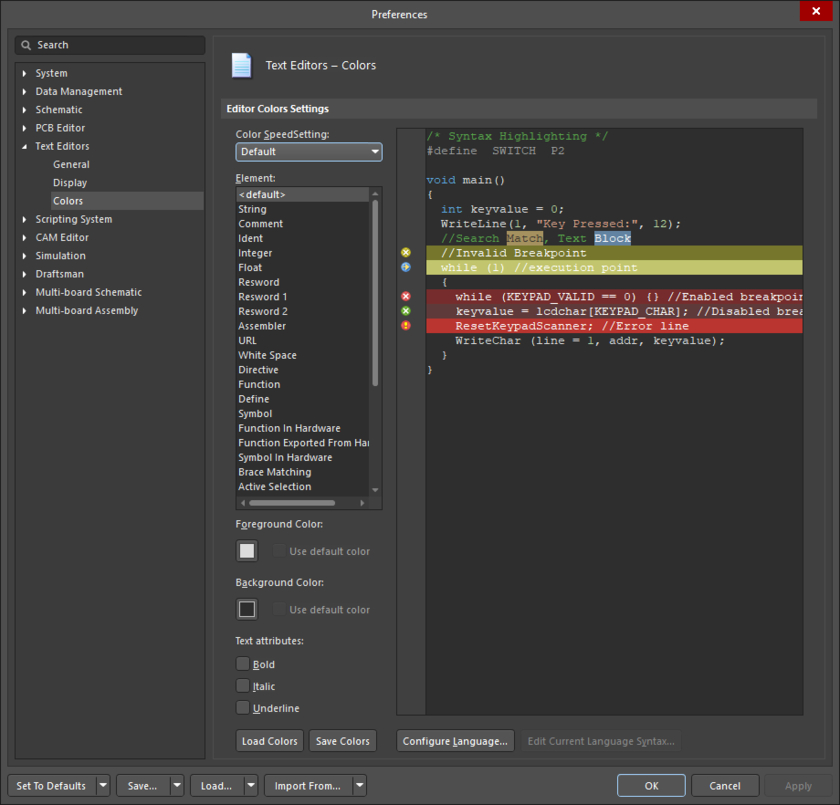 The Text Editors - Colors page of the Preferences dialog