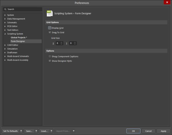 The Scripting System - Form Designer page of the Preferences dialog