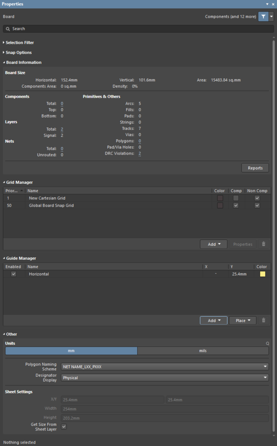 Access controls for the Unified Cursor-Snap System in the Properties panel, including the Snap Options, Grid Manager and Guide Manager.