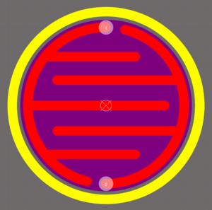 Посадочное место печатной кнопки, выполненное путем размещения контактных площадок, линий и дуг.