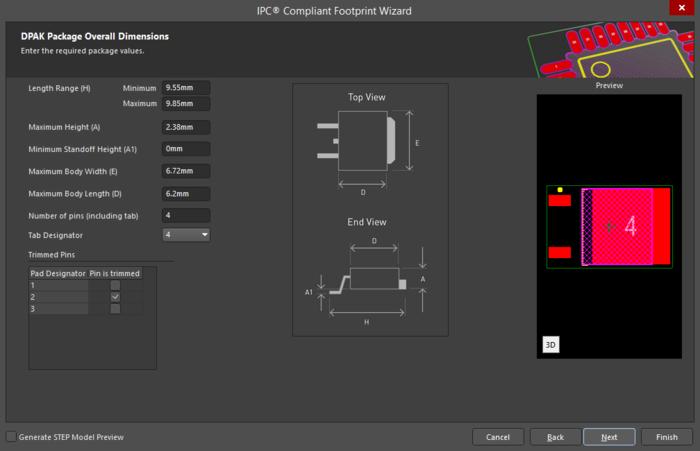 Один из поддерживаемых в IPC Compliant Footprint Wizard корпусов – DPAK.