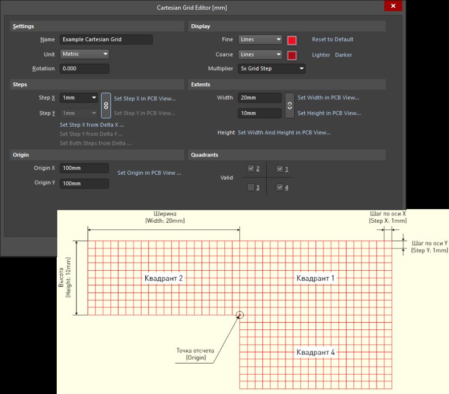 Пример определения декартовой сетки с помощью диалогового окна Cartesian Grid Editor и ее вид в рабочей области.