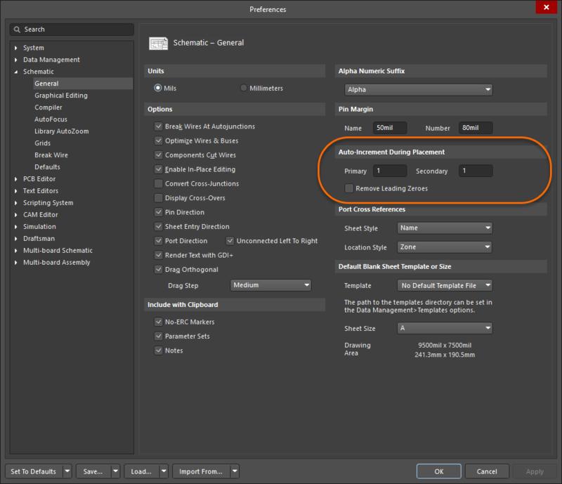 Используйте страницу Schematic - General диалогового окна Preferences для определения автоматического увеличения значений.