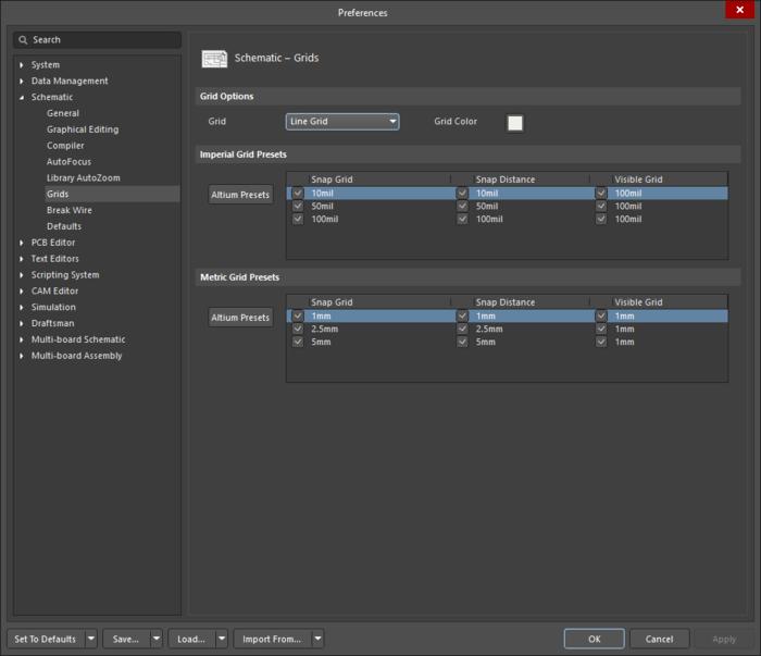 Используйте страницу Schematic – Grids диалогового окна Preferences для определения настроек сетки привязки.