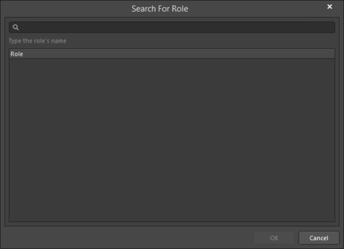 The Search for Role dialog