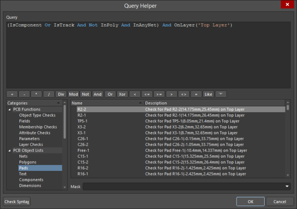 The Query Helper dialog offers a number of tools to help write search expressions.