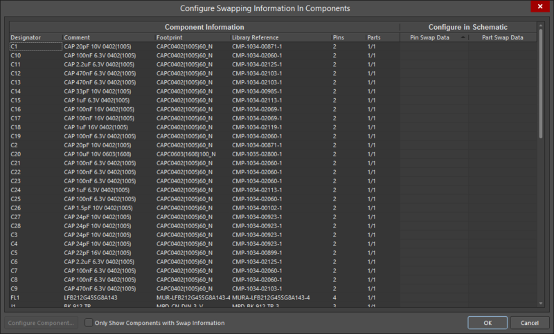 TheConfigure Swapping Information In Components dialog