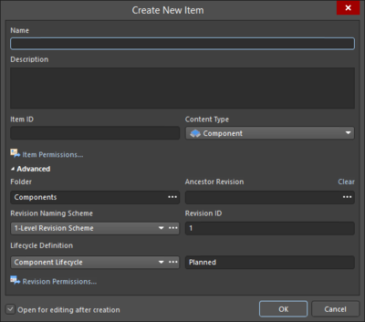 On the left, an incarnation of the Create New Item variation of the Item Properties dialog if signed into an on-site server; on the right,an incarnation of the Create New Item variation of the Item Properties dialog if signed into an Altium NEXUS Workspace