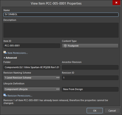 On the left, an incarnation of the View Item Properties variation of the Item Properties dialog if signed into an on-site server; on the right,an incarnation of the View Item Properties variation of the Item Properties dialog if signed into an Altium NEXUS Workspace