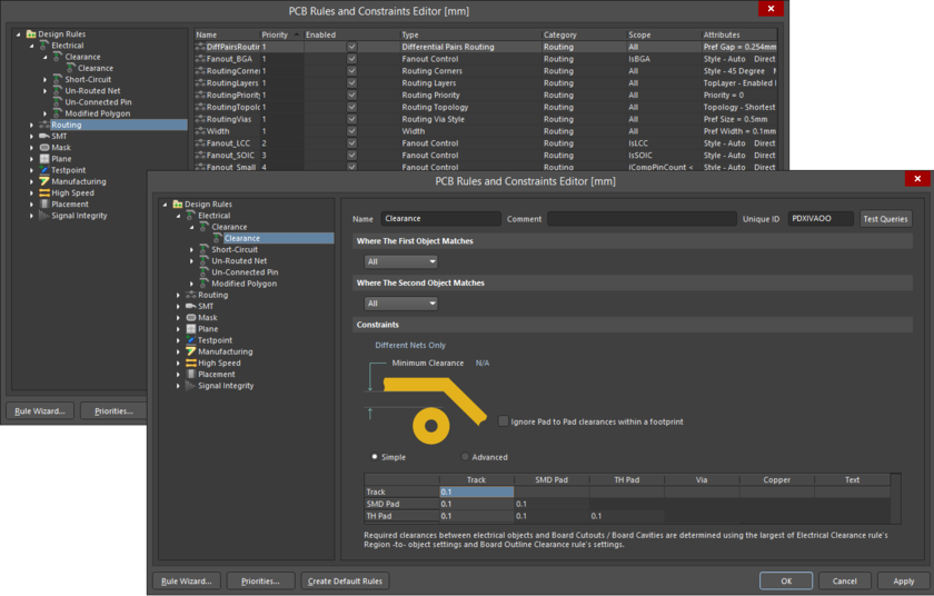 PCB Rules and Constraints Editor dialog