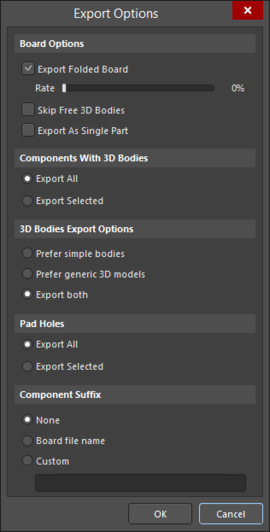 Export Options dialog accessed through STEP 3D