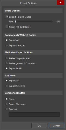 Export Options dialog accessed through VRML
