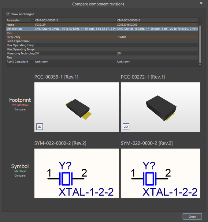 The Compare component revisions dialog
