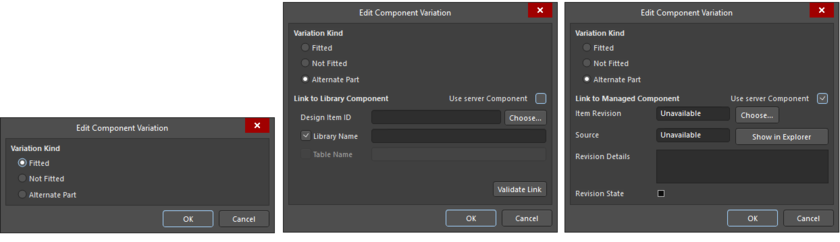 The Edit Component Variation dialog with Fitted selected, Alternate Partselected withUse server Componentunchecked, andAlternate Part selectedwithUse server Componentchecked.