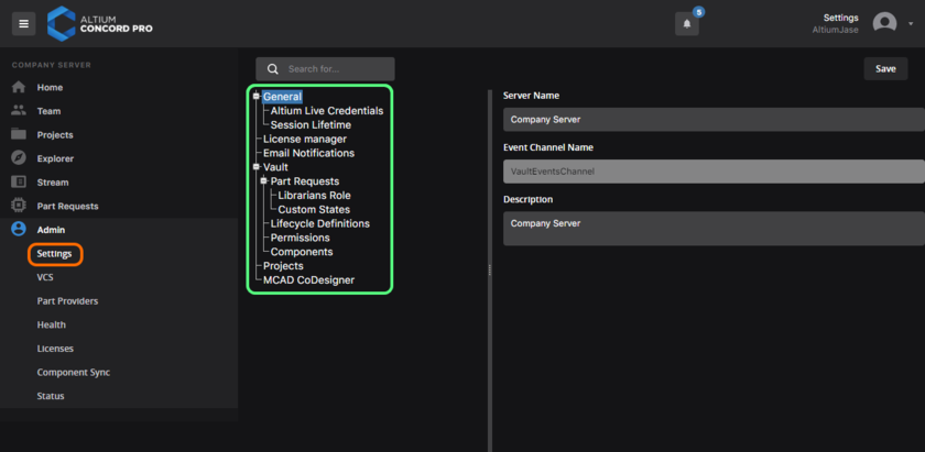 The Settings area - part of the admin-only pages within Concord Pro's browser interface.