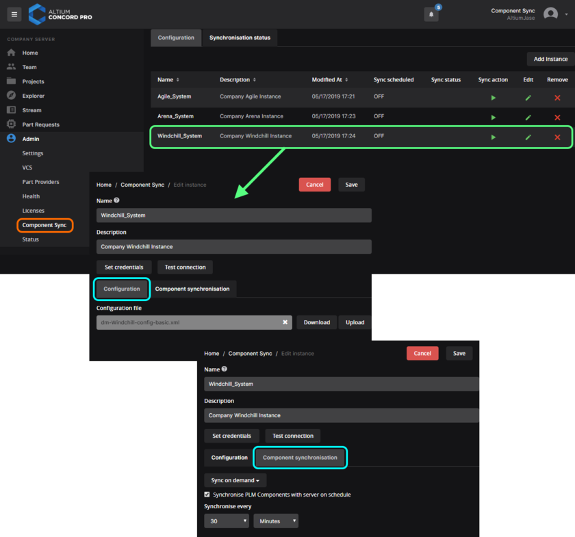 Add and configure the interface to your company's enterprise system. With a valid connection, you can schedule synchronization of components between that system and your Concord Pro instance.