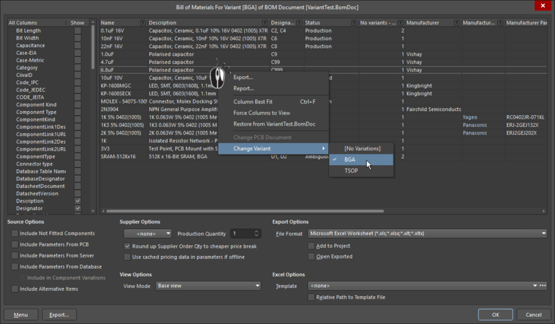 Output interfaces, such as the Report Manager or the OutputJob editor, include variant selection features
